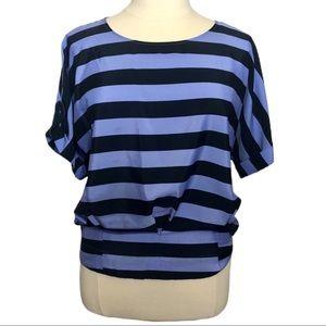 NY&Co Purple & Navy Striped Short Sleeved Blouse